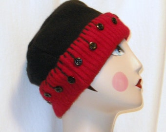 UPCYCLED Felted  Black and Red Wool  Hat (Size M)