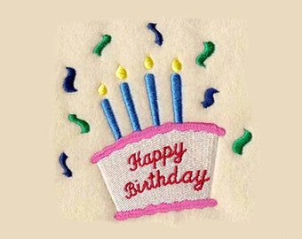 Happy Birthday Cake Tea Towel | Personalized Kitchen | Embroidered Kitchen Towel | Embroidered Tea Towel | Embroidered Towel | Hand Towel