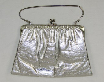 Vintage Silver Vinyl Rhinestone Silver Tone Accents Evening Bag Clutch Purse