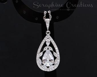 Wedding Necklace Cubic Zirconia Bridal Necklace, Wedding Jewelry Bridal Jewelry Bridal Pendant Long Teardrop Valerie W21