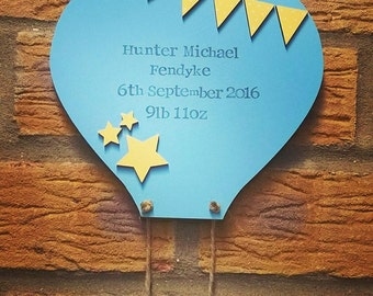 New Baby Hanging Hot Air Balloon Wall Plaque christening gift new arrival nursery decor