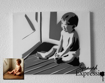 """Custom Baby Portrait Spray Painting, 10""""x8"""""""" Canvas - Made to Order"""