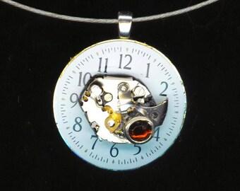 Steampunk Pendant . Vintage Watch Movement . Rhinestone . Steampunk Watch Face . Industrial Victorian Gothic by enchantedbeas on Etsy
