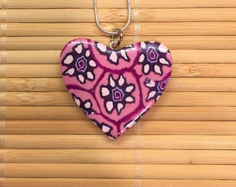 Pink Heart and Flowers Valentine's Day Necklace pendant - Polymer Clay Jewelry for Women
