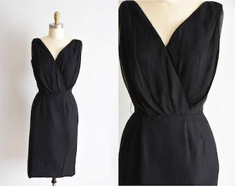 1950s Happy Hour dress/ vintage 50s black dress / Murray Millman little black dress