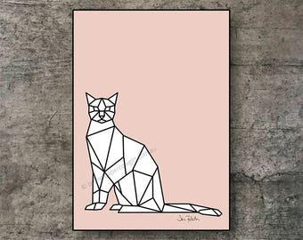 Printable wall art - Downloadable art – Animal art prints – Pink cat prints - Art prints - A2 A3 A4 Letter Poster - Geometric art - Cat art