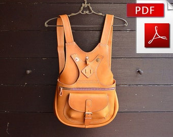Leather backpack pattern. PDF