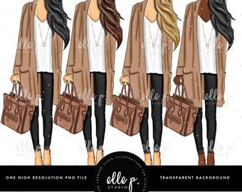 Fall Fashion Elle Dolls - Elle P. Dolls - Fall Clipart by Elle P. Studio