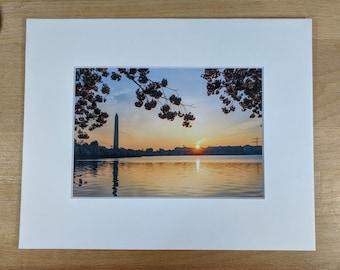 Tidal Basin Sunrise | 5x7 Matted Photo | Cherry Blossom Festival | Washington DC | Washington Monument | DC Photo | DC Grad Gift | Art