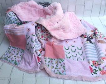 Quilted Baby Girl Woodland Blanket | Floral Deer Faux Fur Blanket |