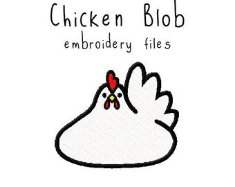 Chicken blob EMBROIDERY MACHINE FILES pattern design hus jef pes dst all formats bird spring valentine Instant Download digital cute