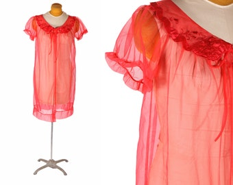 1960s Cherry Red Sheer Nylon Knee Length Short Sleeve Lace Detail Robe