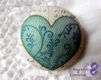 Fabric button, printed  heart, 1.25 in / 32 mm