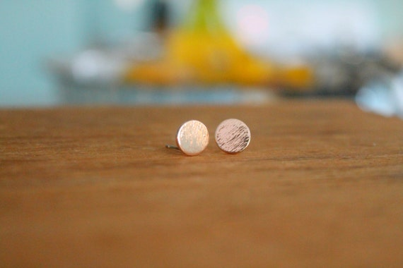 Delicate Rose Gold Plated Circular Post Earrings | Dainty Jewelry | Tiny Stud Earrings by Etsy