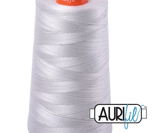 AURIFIL Cone MAKO 50 Wt 5900 Meters 6452 Yds Color 2615 Grey Gray Quilt Cotton Quilting Thread