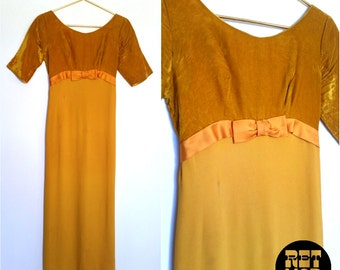 Unique Vintage 60s 70s Goldenrod Yellow Velvet Maxi Dress with Satin Bow! Very Pretty!
