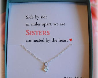 Sister Gift, Tiny Heart Necklace, Big Sister, Gift for Sister, Sister Birthday Gift, Sister Gift Ideas, Sister, Little Sis, Sisters Gift
