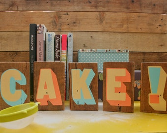 CAKE! Handpainted Upcycled Sign Set - Coral, Cream & Blue: Reclaimed Wood Kitchen Sign
