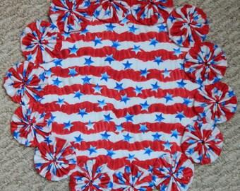 """Red, White and Blue Patriotic Stripe Yo Yo Doily - 12"""""""