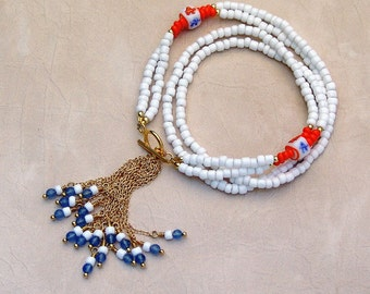 White Seed Bead Tassel Necklace with Gold, Orange and Blue