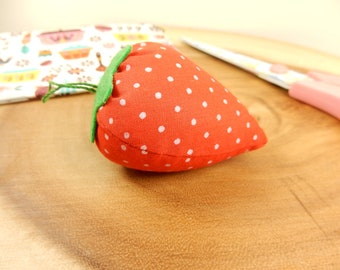 Strawberry Pin Cushion, Fabric Pincushion, Sew Tool, Sewing Essential, Sewing Accessory, Fruit Sewing Tool