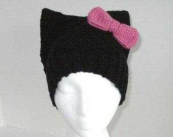 Kitty Hat / Knit Black Cat Hat / Pink Bow