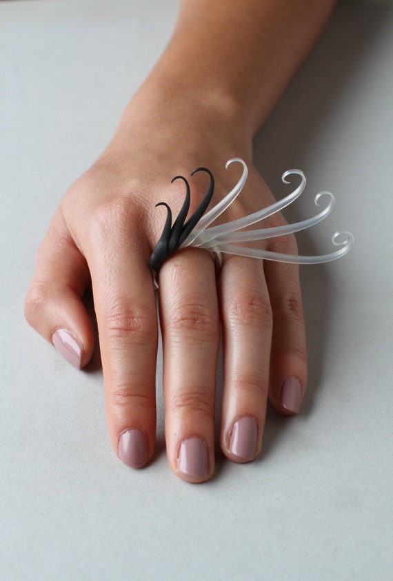 Sue Ring with Soft Black and Translucent spines - made to order