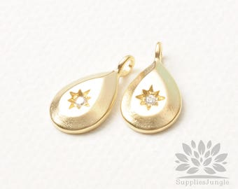 P908-MG// Matt Gold Plated Teardrop Star Cubic Pointed Pendant, 2pcs