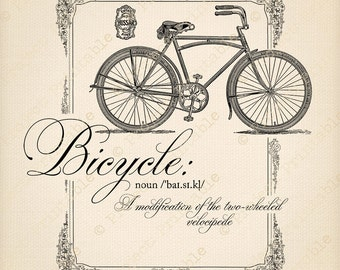BICYCLE Instant Download Printable Clipart Bike - Dictionary Definition Quote - Digital Iron On Fabric Transfer Graphics - Cycling Clip Art