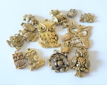 set of 14 owls