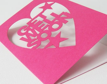 Bright Pink Cut Out Get Well Soon Card