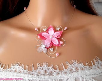 wedding flower Mia pink coral White Pearl wedding silver Butterfly Necklace