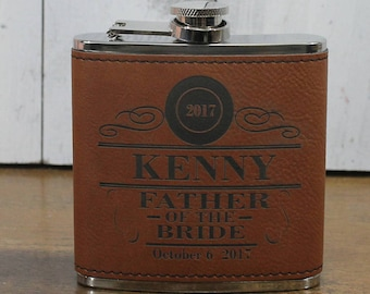 Flask/Engraved/Father of the Bride/Leather/Maid of Honor/Groom Gift/Groomsmen/Bachelor Party/Father's Day/Flask/Color Choice/Personalized