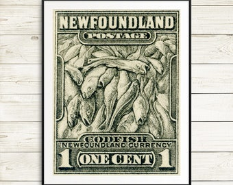 Fisherman gifts, Newfoundland posters, fishing posters, Newfoundland cod, Newfoundland stamps, Canada posters, vintage poster art prints