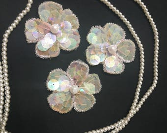 3 Beaded Sequins FLOWERS  Applique in L,PINK