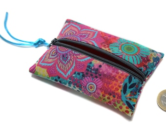 colorful fabric wallet, small purse, pink purse, wallet, women, women gift, gift for her