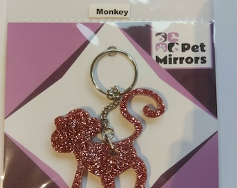 Glitter acrylic Monkey keyring/bag charm - 9 colour choices