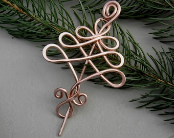 Copper Celtic Tree Shawl Pin, Christmas Tree Scarf Pin, Sweater Brooch, Fastener, Tree of Life Celtic Knot Christmas Gift Knitting Jewelry