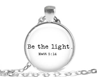 Be the Light Necklace Bible Verse Jewelry Matt 5:14 Christian Gift Scripture Necklace Bible Verse Keychain Religious Jewelry Religious gift