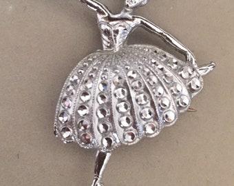Vintage silver tone dancer brooch