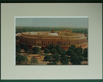 1950s Vintage Print of the Sasad Bhavan Indian House of Parliament New Delhi architecture print, retro Indian decor - Vintage Democracy Gift