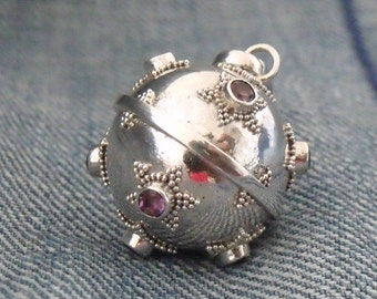 Amethyst 925 Sterling Silver Harmony Chime Ball Angel Caller Mexican Bola Chiming Pendant