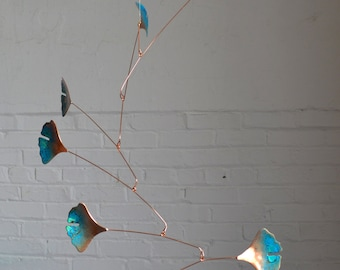 Free Shipping on Copper Mobile - Handmade Mobile Art - W Ginkgo Leaves - Green Patina