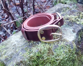 Larp Belt in Leather and Brass. Also for Cosplay, Steampunk or Costume