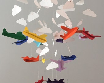 Colorful 3D plane and cloud mobile  Baby Nursery, Kids Room, boy room mobile, nursery mobile, baby boy mobile, baby mobile