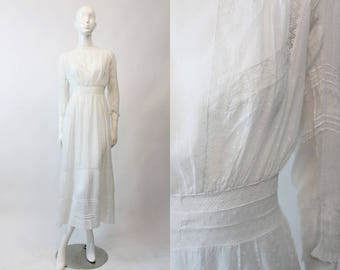 Edwardian Swiss Dot Dress XS / 1910s Antique Lace Gown / Swiss Miss Dress