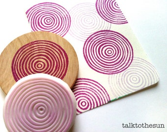 spiral circle stamp | circle pattern rubber stamp | birthday card making | diy gift wrapping | holiday crafts | hand carved by talktothesun