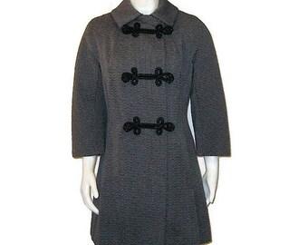 60s Gray Coat, Textured Coat, 1960s Dress Coat, Gray Dress Coat, Gray Fall Coat, Gray Winter Coat, Short Coat, Short Gray Coat
