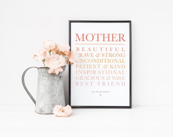 Mom Wall Art Printable, Mother's Day Gift, Mother Wall Art, Mom Print | Instant Download | 8x10"