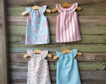 Girls Dress, Spring Dress, Coral Stripe Dress, Turquoise Greek Key Fabric, Easter Dress, Polka Dot, Beach Dress, Sundress, coordinating